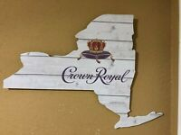CROWN ROYAL WHISKEY WOODEN NEW YORK STATE SIGN MAN CAVE GARAGE NEW DECOR WHISKY