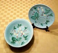 West German Blue Majolica 'Wild Strawberry' Luncheon Plate and Vegetable Bowl