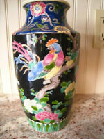 Antique Japanese NIPPON Pottery Vase with Relief Floral Rooster Design 10.5