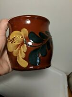 Eldreth Pottery 1996  Redware Crock with hand painted flowers