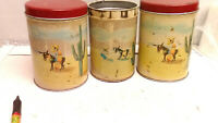 Three Antique 1947 Old Reliable Coffee and Tea Tins The Dayton Spice Mill Co