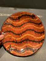 9' Slipware Redware Plate Cabin Craft Pottery by Cazan Signed and Dated 2002 Ex!
