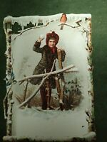 Victorian Trade Card Christmas F W Wenners Merchant Tailor Boston Lg 6 x 4