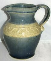 Hand Thrown Studio Art Pottery Blue Tan Glaze HEARTS Incised Pitcher X Large
