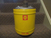 Shell Oil Vintage 5 Gallon Can Advertising Gas Station Garage Free USA Shipping