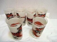 Vtg Set 6 Esso Gas Frosted Drinking Glasses Tumblers Put A Tiger In Your Tank