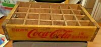 ANTIQUE VINTAGE WOOD WOODEN YELLOW COKE COCA COLA 24 BOTTLE CASE CRATE