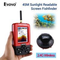 Wireless Sonar Sensor Fishing Finder With Sunlight Readable Screen 45M Depth Red