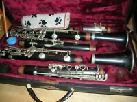PAIR OF PROFESSIONAL CLARINETS WITH DOUBLE CASE.  SELMER, MARIGAUX, BOTH PARIS!!