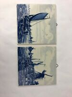 SET of 2 TWO Delft Blue Hand Painted Tile Holland Rigged Ships Windmill Solvang