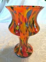 Czechoslovakia Spatter Ware End of Day Multicolor Vase