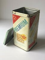 RARE 1950s-1960s Vintage NABISCO PREMIUM SALTINES CRACKER TIN Bilingual