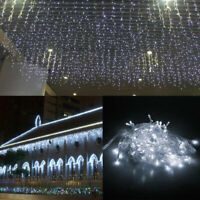 10-100ft LED Icicle Curtain Lights String for Christmas Wedding Party Decoration