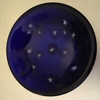 LUNDBERG STUDIOS 1991 STARRY NIGHT ART GLASS COBALT BLUE BOWL