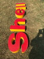 Shell Oil gas station lighted canopy signs, Plastic Shell Letters Used
