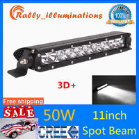 1X 11inch 50W Slim Single Row LED Light Bar Spot Beam ATV Trailer Vehicle Bumper