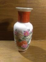 Satsuma 12 inch Vase Japanese Pottery Beige With Floral Pattern Excellent Cond.