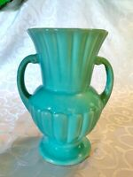 McCoy Blue Green Double Handled Greek Style Vase