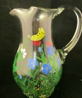 Vintage Retro Millefiori Glass Water Tea Pitcher Murano butterflies flowers