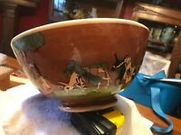 Old vintage Mexican Tlaquepaque tourist pottery Red bowl 9 1/4