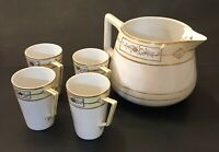 5 Pc Antique Nippon Porcelain Cider Set Pitcher 4 Cups Hand Painted Gold Japan