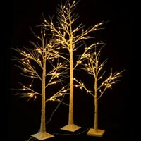 4-6FT LED Birch Tree Lighted In&Outdoor Warm White Christmas Thanksgiving Decor