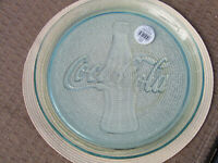 Coca Cola w/ Coke Bottle  Never Used Round Clear Green Glass 13