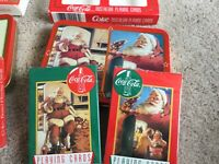 Coca-Cola Nostalgic Playing Cards LOT 1994 1995 Collectible Tin SANTA CLAUS Deck