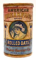 AMERICAN BREAKFAST BRAND ROLLED OATS CARDBOARD CONTAINER BOX, PEORIA, ILL.