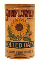 RARE SUNFLOWER BRAND ROLLED OATS CARDBOARD CONTAINER BOX, ATHENS, OHIO