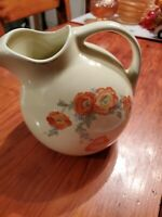 HALL POTTERY ORANGE POPPY BALL WATER PITCHER #633 EC ICE LIP SPOUT