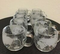 10 Piece set Old Vintage 1970's Nestle Nescafe Clear Glass Globe World Cups/Mugs
