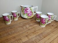 Antique Hand Painted Nippon China Lemonade Set Pitcher Mugs Rose Gilded