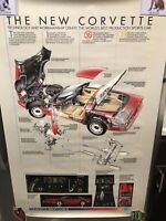 Vintage Chevrolet Corvette Tech Breakaway Showroom Poster 24x36 Original