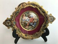 Antique French Porcelain Painting In Enamel Gold Gilt Picture Frame