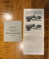ORIGINAL Directions Watson Governor For Traction Engines L. J. Watson Port Huron