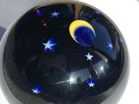 Lundberg Starry Night Moon Paperweight Cobalt Blue Signed 1990