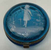 Antique Mary Gregory Enamelled Patch Trinket Box Glass Hinged