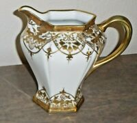 Nippon RC Milk Pitcher Moriage with Beaded Gold Trim