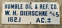 RARE HUMBLE OIL & REF COMPANY PORCELAIN OIL WELL GAS WELL LEASE SIGN