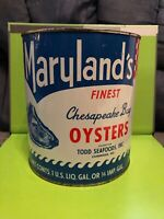Vintage Gallon Maryland's Finest Brand Oyster Tin Can Todd Seafoods Cambridge MD