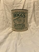 Vintage Gallon Hoggs Brand Oyster Tin Can Gloucester Point VA