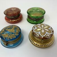 4 Antique Czech Moser Glass Patch Box enameled hinged Trinket Boxes