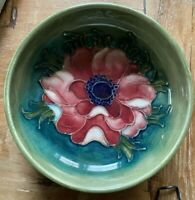 Moorcroft Anemone Bowl England Footed Green Blue 1920s Pin Tray Poppy Small 4