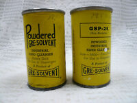 Vtg Lot 2 Gre-Solvent Powdered Industrial Hand Cleanser Advertising Cleaner Tins