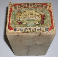 VINTAGE WOODEN KINGSFORD'S SILVER GLOSS STARCH BOX RED LITHOGRAPH 6 POUND