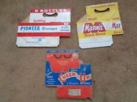 Vintage Beverages Cardboard Carriers Carton Pop Soda Water  Lot of 3