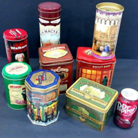 Lot 8 Vintage Collectible Advertising metal cookie tins containers canisters
