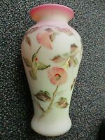 Fenton Glass Burmese Vase 1995 90Th Anniv. Hummingbird Design True Auction NPC