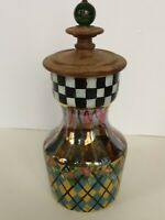 MacKenzie-Childs Circus Glass St Andrews Carafe w/wooden lid